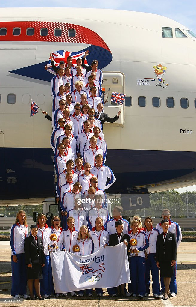 Great Britain's rowing team pose for photographers prior to their departure for Beijing at Heathrow airport on July 30, 2008 in London, United Kingdom. The 43-strong team fly out to on a British Airways Boeing 747 named 'Pride' after team GB's Lion Olympic Mascot.