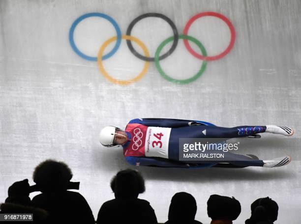 Great Britain's Rupert Staudinger competes in the men's luge singles run 3 during the Pyeongchang 2018 Winter Olympic Games at the Olympic Sliding...