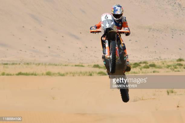 Great Britain's Sam Sunderland rides his TKM 450 Rally during the eighth stage of the Silk Way Rally 2019 from Bayinbaolige to Alashan on July 14 2019