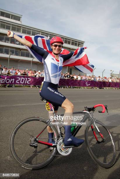 Great Britain's Sarah Storey celebrates after winning the Women's Individual C 4-5 Road Race at Brands Hatch in Kent.