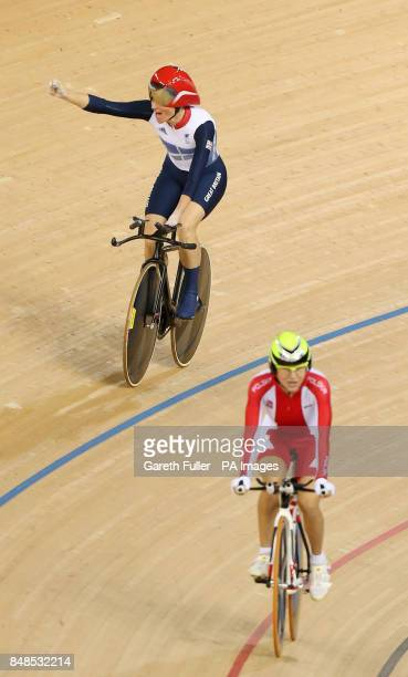 Great Britain's Sarah Storey celebrates victory against Poland's Anna Harkowska in the Women's Individual C5 Pursuit at the Velodrome, London.