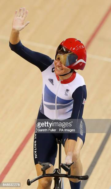 Great Britain's Sarah Storey celebrates victory in the Women's Individual C5 Pursuit at the Velodrome, London.