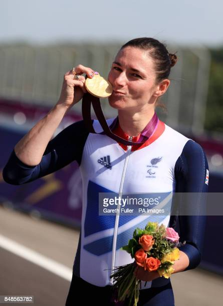 Great Britain's Sarah Storey celebrates with her Gold Medal following victory in the Women's Individual C5 Time Trial at Brands Hatch, Kent.
