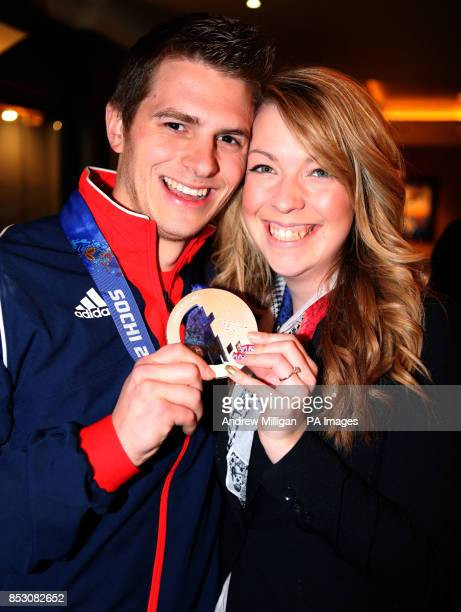 Great Britain's Scott Andrews with his Fiancee Amy Connor after arriving back at Edinburgh Airport Edinburgh