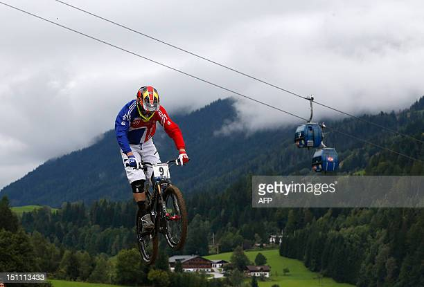 Great Britain's Scott Beaumont competes during the men's four cross as part of the 2012 UCI Mountain Bike and Trials World Championships held in...