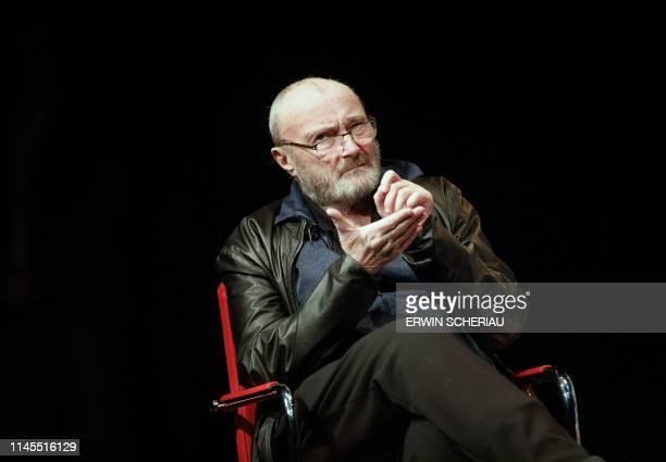 Great Britain's singer Phil Collins attends a round table with students of the University of Music and Performing Arts Graz on May 22 2019 in Graz...