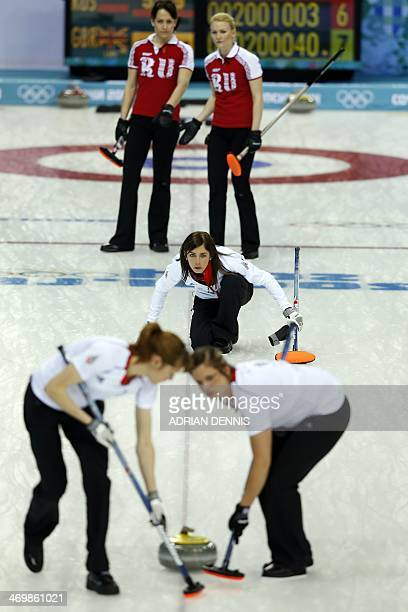 Great Britain's Skip Eve Muirhead looks at the stone she thrown during the Women's Curling Round Robin Session 11 Russia vs Great Britain at the Ice...