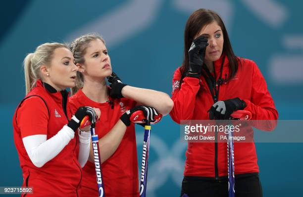 Great Britain's skipper Eve Muirhead and team mates Anna Sloan and Vicki Adams look dejected after losing the Women's Bronze Medal match at the...