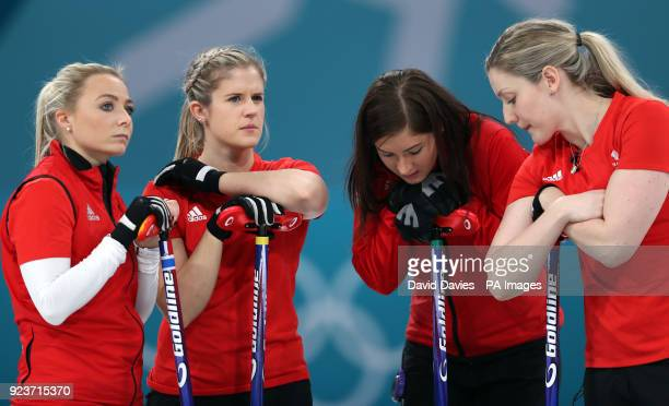 Great Britain's skipper Eve Muirhead and team mates Anna Sloan Lauren Gray and Vicki Adams look dejected after losing the Women's Bronze Medal match...