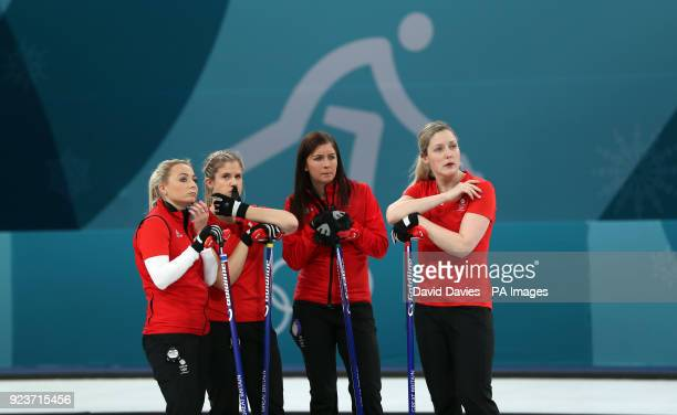 Great Britain's skipper Eve Muirhead and team mates Anna Sloan Lauren Gray and Vicki Adams look dejected during the Women's Bronze Medal match at the...
