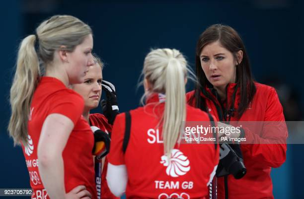 Great Britain's skipper Eve Muirhead with team mates Anna Sloan Lauren Gray and Vicki Adams during the Women's Bronze Medal match at the Gangneung...