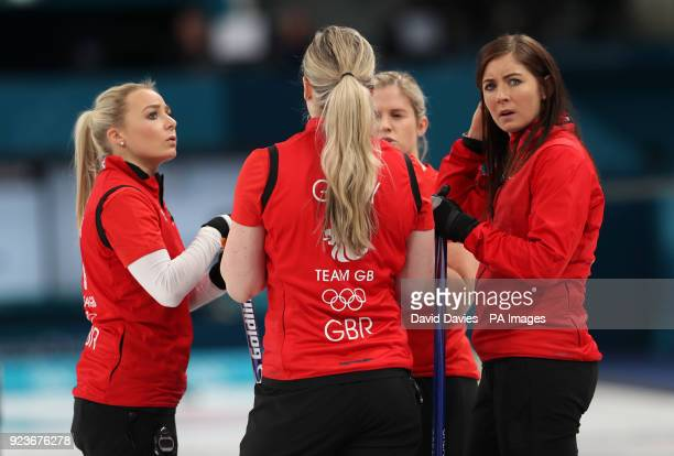 Great Britain's skipper Eve Muirhead with teammates Anna Sloan Lauren Gray and Vicki Adams during the Women's Bronze Medal match at the Gangneung...