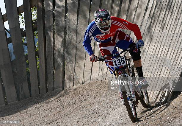 Great Britain's Steve Peat competes during the men's elite downhill world championship race as part of the 2012 UCI Mountain Bike and Trials World...
