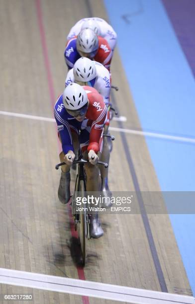 Great Britain's Steven Burke Edward Clancy Geraint Thomas and Robert Hayles on their way to winning the men's team pursuit final
