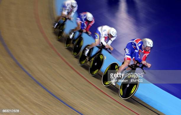 Great Britain's Steven Burke Edward Clancy Thomas Geraint and Robert Hayles during the men's team pursuit qualifying