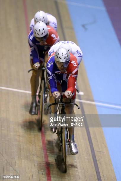 Great Britain's Steven Burke Edward Clancy Thomas Geraint and Robert Hayles during the men's team pursuit finals