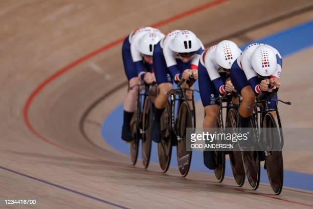 Great Britain's team compete in the first round heats of the women's track cycling team pursuit event during the Tokyo 2020 Olympic Games at Izu...