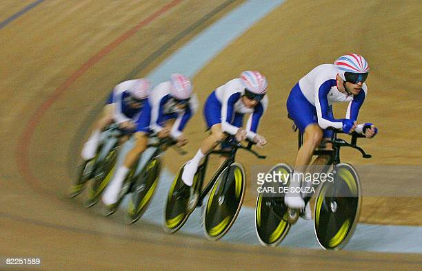 Great Britain's Team Pursuit, track cycling team, practice during a training session at the Laoshan Velodrome on August 11 for the 2008 Beijing...