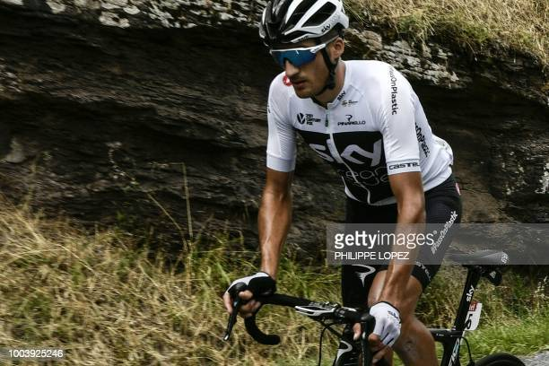 TOPSHOT Great Britain's Team Sky cycling team rider Italy's Gianni Moscon rides during the 15th stage of the 105th edition of the Tour de France...