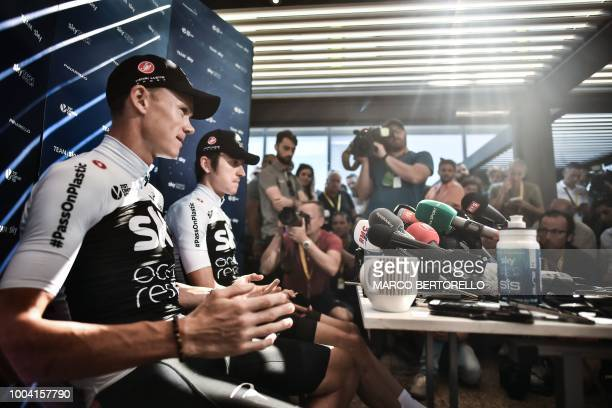 TOPSHOT Great Britain's Team Sky cycling team riders Great Britain's Christopher Froome and the race's overall leader Great Britain's Geraint Thomas...