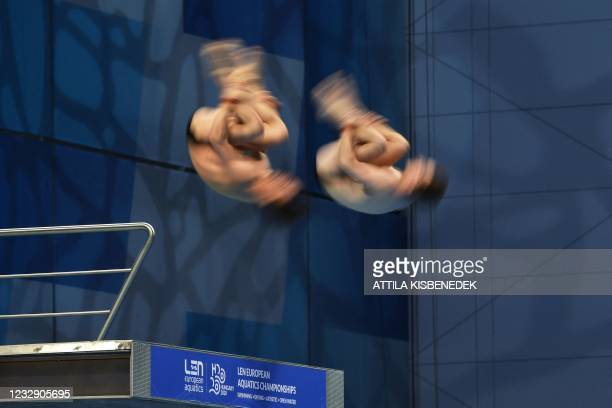 Great Britain's Thomas Daley and Great Britain's Matthew Lee compete in the Men's Synchronised 10m Platform Diving event during the LEN European...