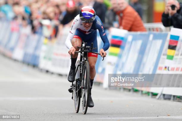 Great Britain's Thomas Pidcock competes to win the men's junior individual time trial at the UCI Cycling Road World Championships on September 19...
