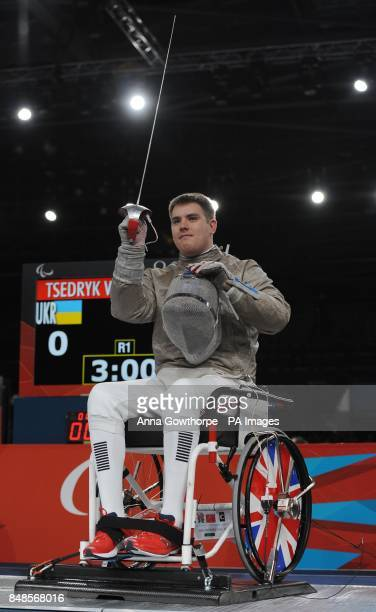 Great Britain's Tom Hall Butcher during the Men's Individual Sabre event at the ExCel Arena London