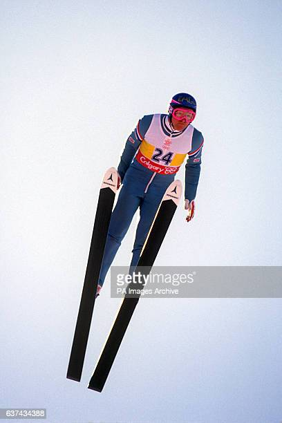 Great Britain's top ski jumper Eddie 'The Eagle' Edwards in flight