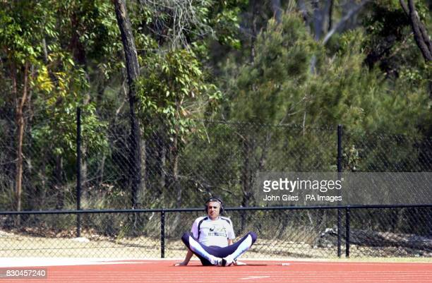 Great Britain's Triple Jump World Record holder Jonathan Edwards sits alone in a quiet corner of the GB Athletics Training Camp on the Gold Coast of...