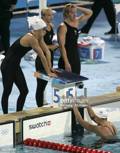 Great Britain's Women's 4 x 200m Freestyle relay team Georgina Lee Caitlin McClatchey Melanie Marshall and Karen Pickering react after finishing...