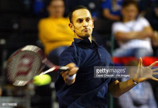 Great Britian's Arvind Parmer in action against Serbia and Montenegro's Janko Tipsarevic during the Davis Cup tennis match at the Braehead Arena...