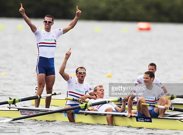 Great Britian's Richard Chambers Paul Mattick Rob Williams and Chris Bartley celebrate after winning the men's Lightweight four Final during the 2010...