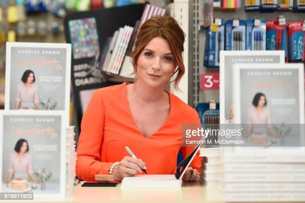 Great British Bake Off Winner Candice Brown signs copies of her new book 'Comfort Delicious Bakes and Family Treats' at WH Smith Wood Green on July...