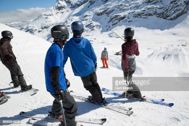 Great British freestyle ski team watch Katie Ormerod drop into the slopestyle course on 05th May 2017 in Corvatsch Switzerland Piz Corvatsch is a...