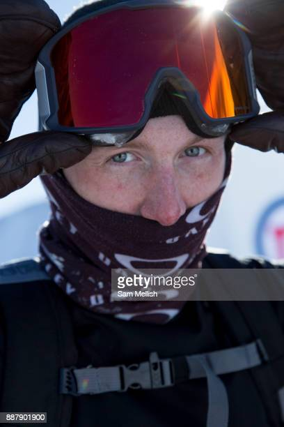 Great British freestyle skier Tyler Harding at the GB Park Pipe brand new winter training facility in Mottolino Snow Park on 7th December 2017 in...