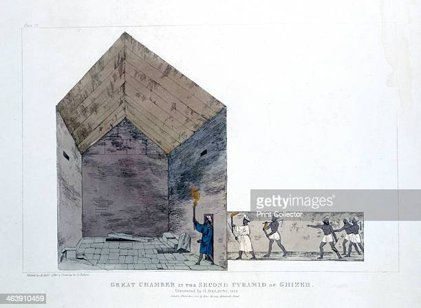 'Great Chamber in the Second Pyramid of Ghizeh' Egypt 1820 The Italian explorer and antiquities collector Giovanni Belzoni was the first to enter the...