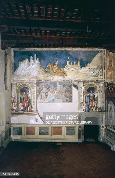 Great Council Hall fresco on the west wall shows markings of the lost world map by Ambrogio Lorenzetti Palazzo Pubblico Siena Tuscany Italy 14th15th...