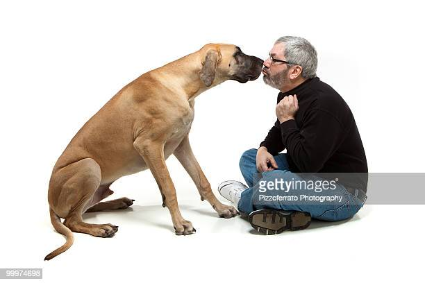 Great Dane Kissing Man
