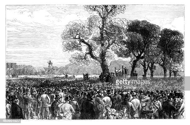 Great demonstration at the Reformers Tree in Hyde Park London mid 19th century The tree was burnt down during the reform league riots in 1866...