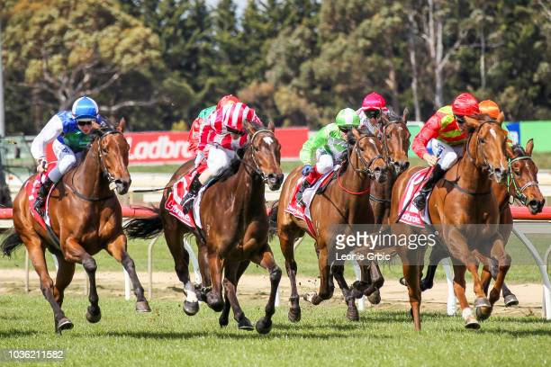 Johnny Vinko ridden by Stephen Baster wins the The Gippy Hotel BM64 Handicap at Sale Racecourse on September 20 2018 in Sale Australia