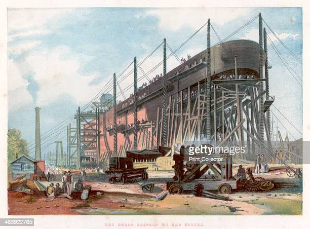 'Great Eastern' on the stocks at Millwall on the Thames 1857 View from the stern showing the vessel in John Scott Russell's yard Doublehulled of all...