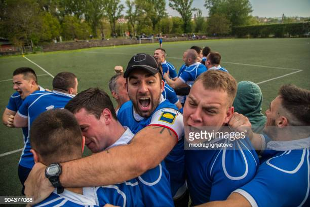 great effort and success - rugby team stock pictures, royalty-free photos & images