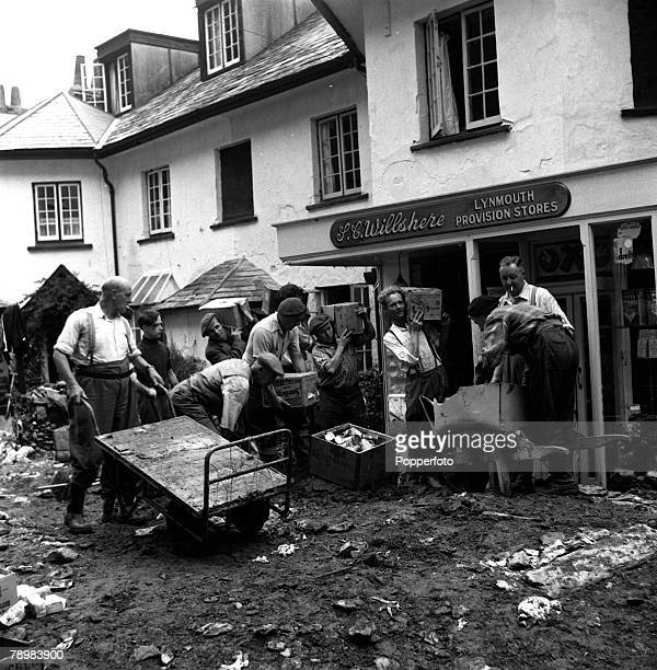 Great efforts were made to salvage foodstuffs that were inundated during the Lynmouth floods 1952