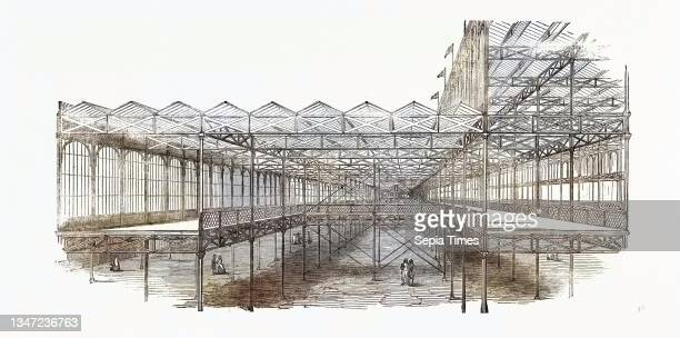 Great Exhibition Building, the Crystal Palace, Sectional View of Galleries, London, UK, 1851 Engraving.