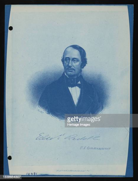 Great Exhibition, London, England 1851 . Engraving, portrait of Edward Riddle, U.S. Commissioner to London. Artist United States National Museum...