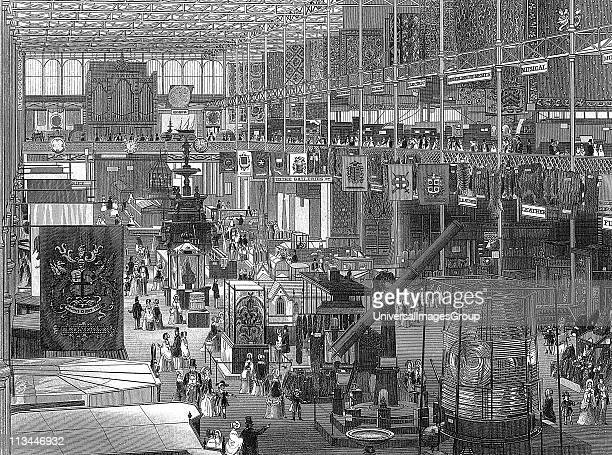 Great Exhibition of 1851 in the Crystal Palace Hyde Park London interior view of the main avenue looking eastwards The iron framework of the building...