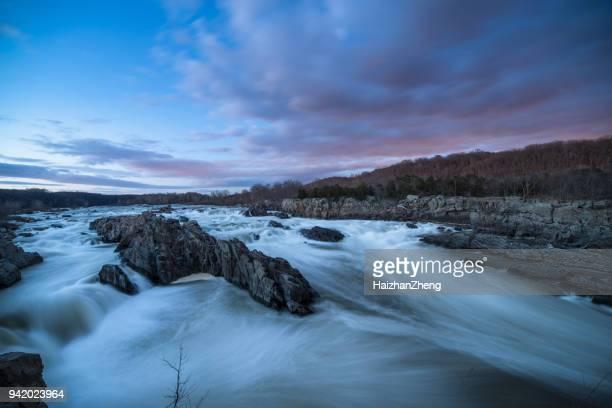 great falls national park virginia winter sunset potomac river photograph - fairfax county virginia stock photos and pictures