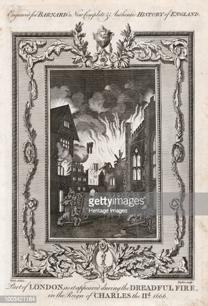 Great Fire of London, 1666 . 'Part of London as it appeared during the Dreadful Fire in the reign of Charles II 1666'. Illustration from Barnard's...