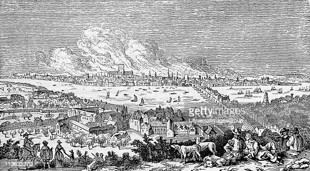 Great Fire of London 1666 Victorian engraving after Visscher