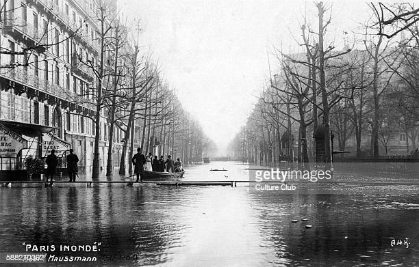 Great Flood of Paris 1910 Boulevard Haussmann Street view